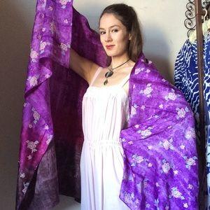 Vintage Accessories - Silk Tye Dye Flower Bower Sarong Scarf